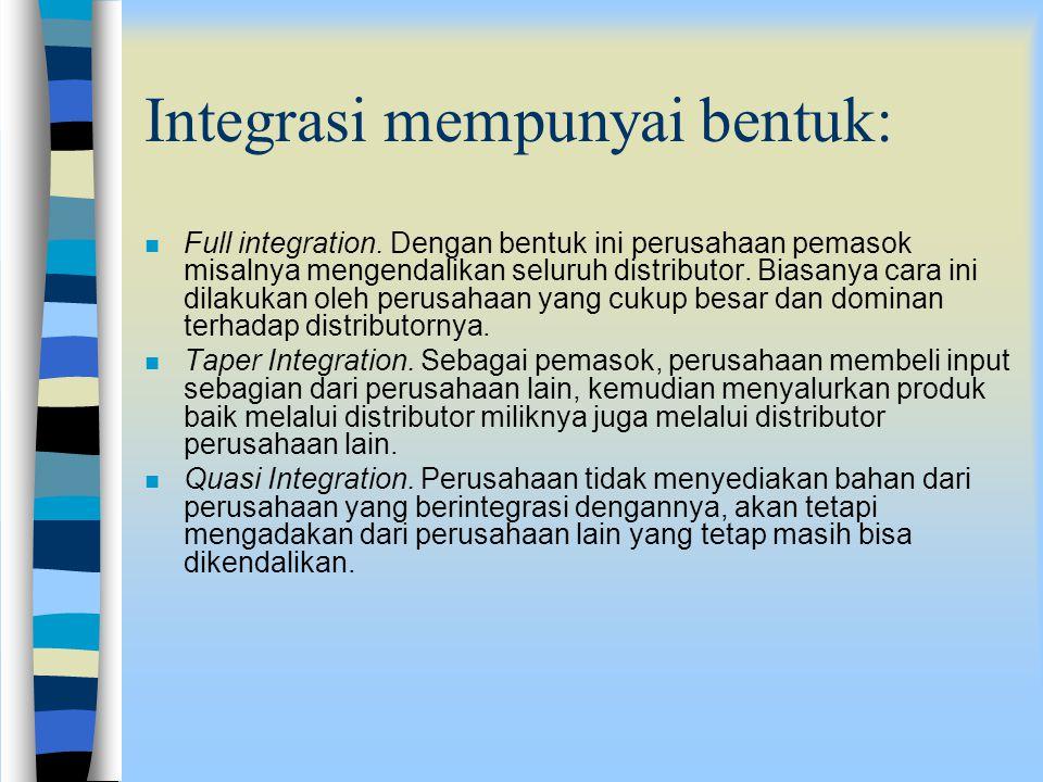 Integrasi mempunyai bentuk: