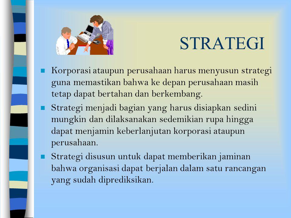 STRATEGI Korporasi ataupun perusahaan harus menyusun strategi guna memastikan bahwa ke depan perusahaan masih tetap dapat bertahan dan berkembang.