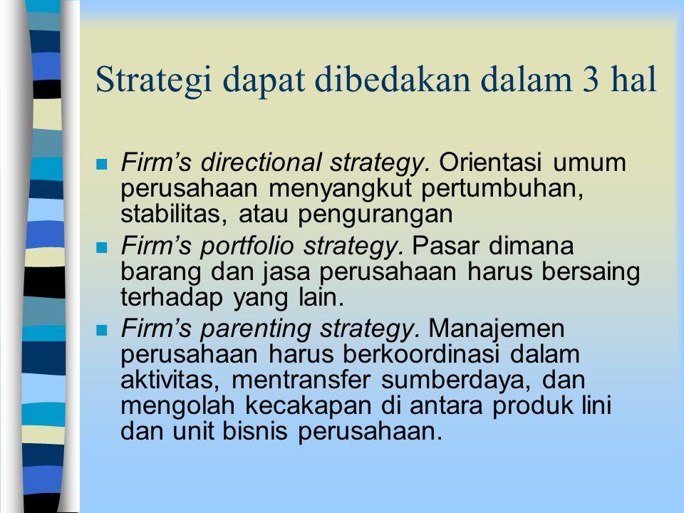 Strategi dapat dibedakan dalam 3 hal