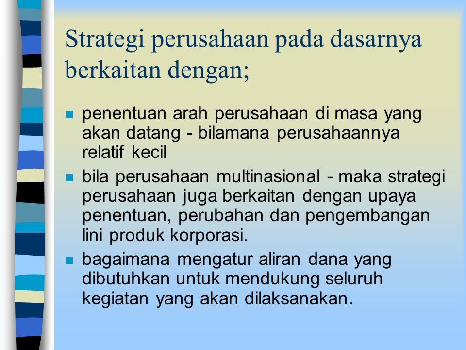 Strategi perusahaan pada dasarnya berkaitan dengan;