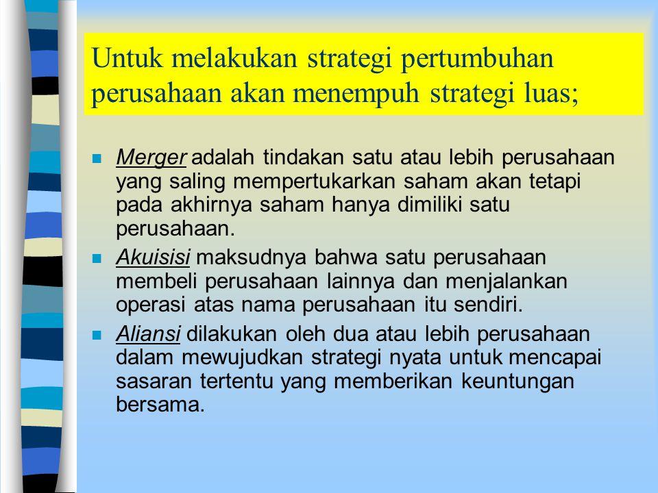 Untuk melakukan strategi pertumbuhan perusahaan akan menempuh strategi luas;