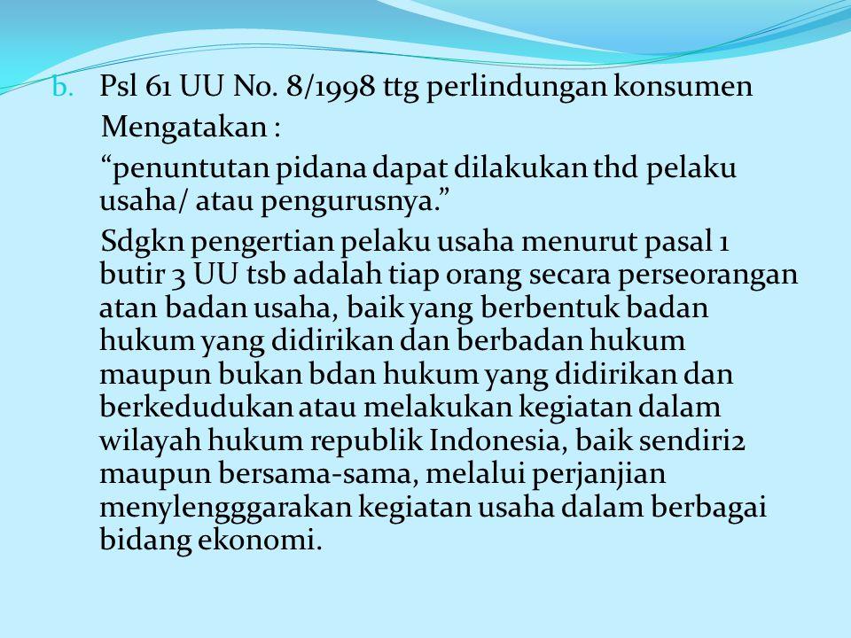 Psl 61 UU No. 8/1998 ttg perlindungan konsumen