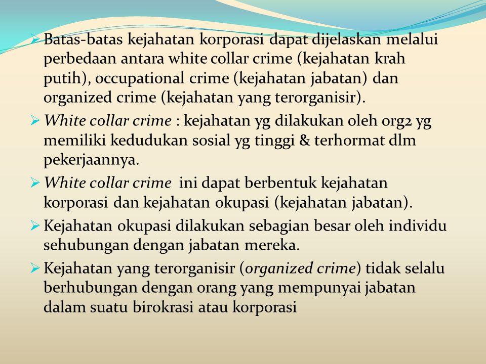 Batas-batas kejahatan korporasi dapat dijelaskan melalui perbedaan antara white collar crime (kejahatan krah putih), occupational crime (kejahatan jabatan) dan organized crime (kejahatan yang terorganisir).