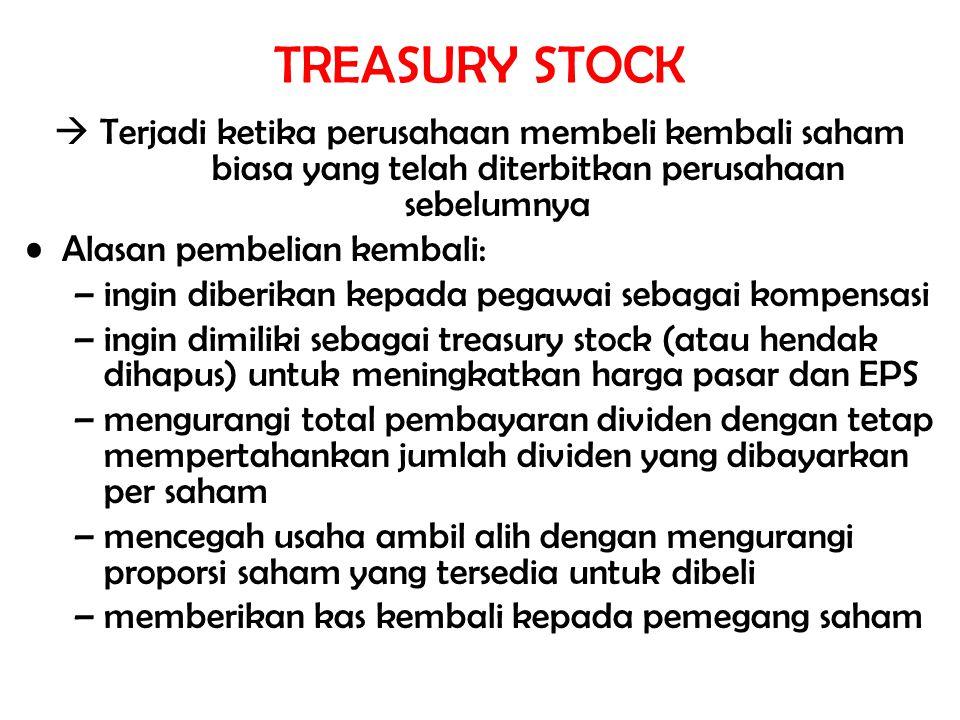TREASURY STOCK  Terjadi ketika perusahaan membeli kembali saham biasa yang telah diterbitkan perusahaan sebelumnya.