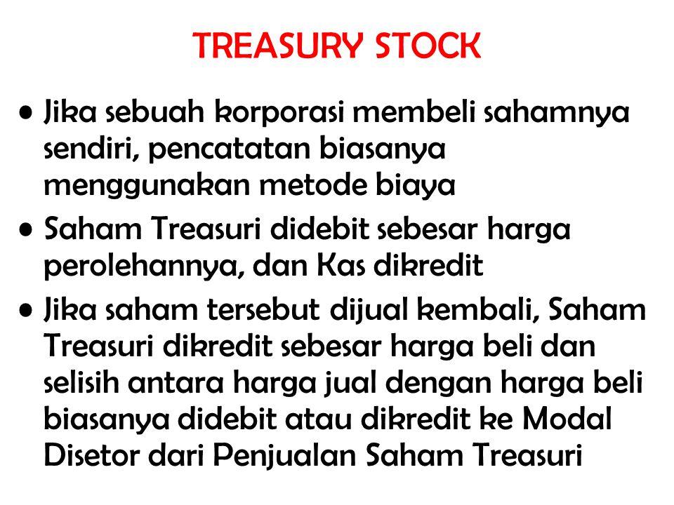 TREASURY STOCK Jika sebuah korporasi membeli sahamnya sendiri, pencatatan biasanya menggunakan metode biaya.