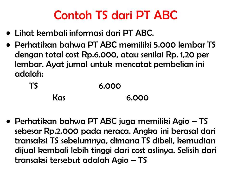 Contoh TS dari PT ABC Lihat kembali informasi dari PT ABC.