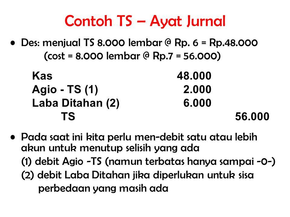 Contoh TS – Ayat Jurnal Des: menjual TS 8.000 lembar @ Rp. 6 = Rp.48.000. (cost = 8.000 lembar @ Rp.7 = 56.000)