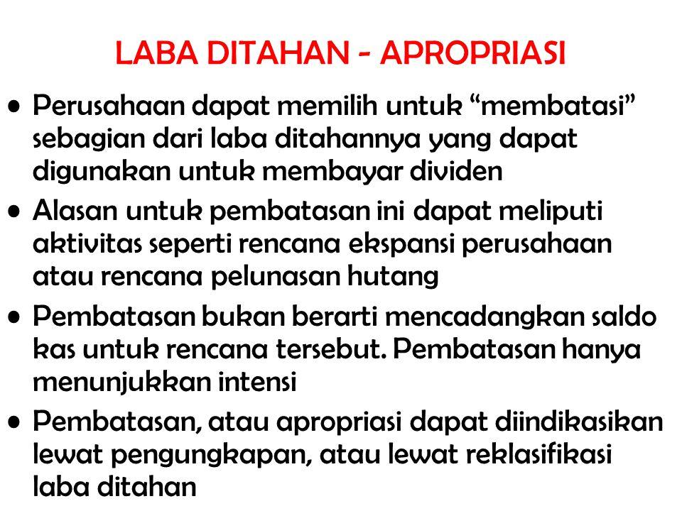 LABA DITAHAN - APROPRIASI