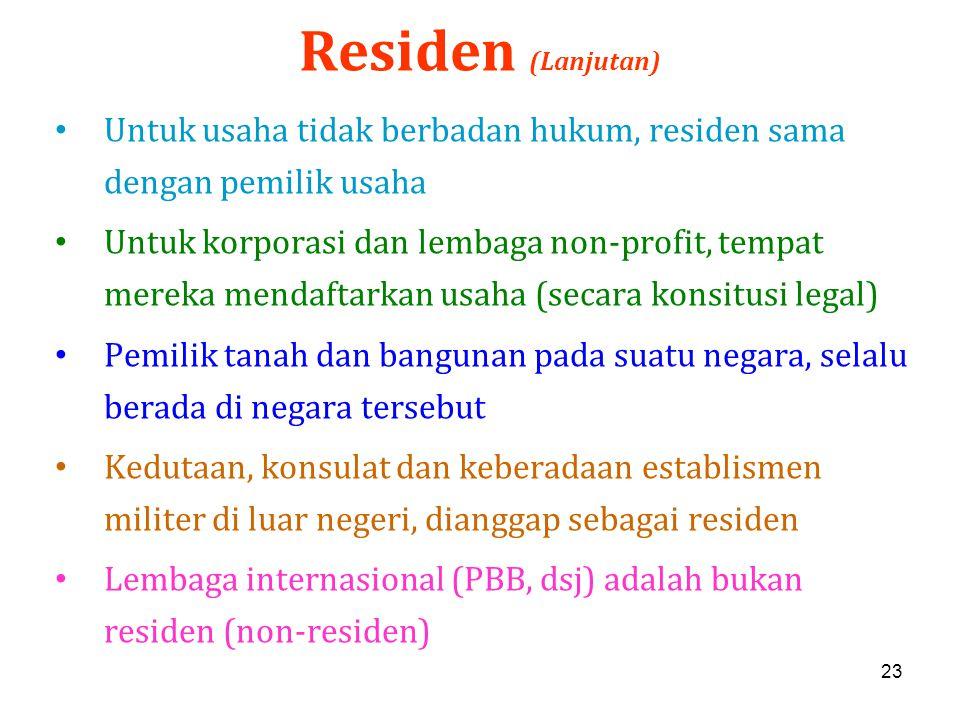Residen (Lanjutan) Untuk usaha tidak berbadan hukum, residen sama dengan pemilik usaha.