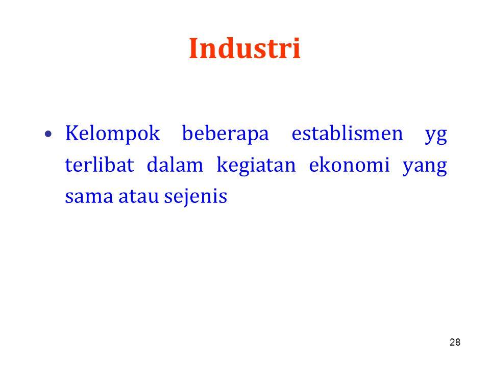 Industri Kelompok beberapa establismen yg terlibat dalam kegiatan ekonomi yang sama atau sejenis