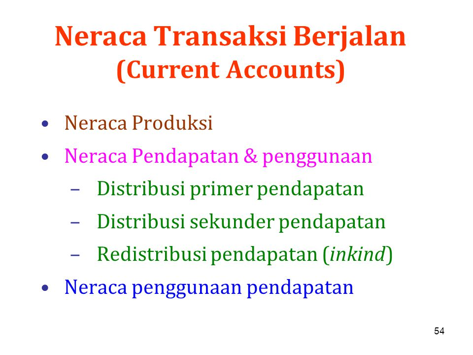 Neraca Transaksi Berjalan (Current Accounts)