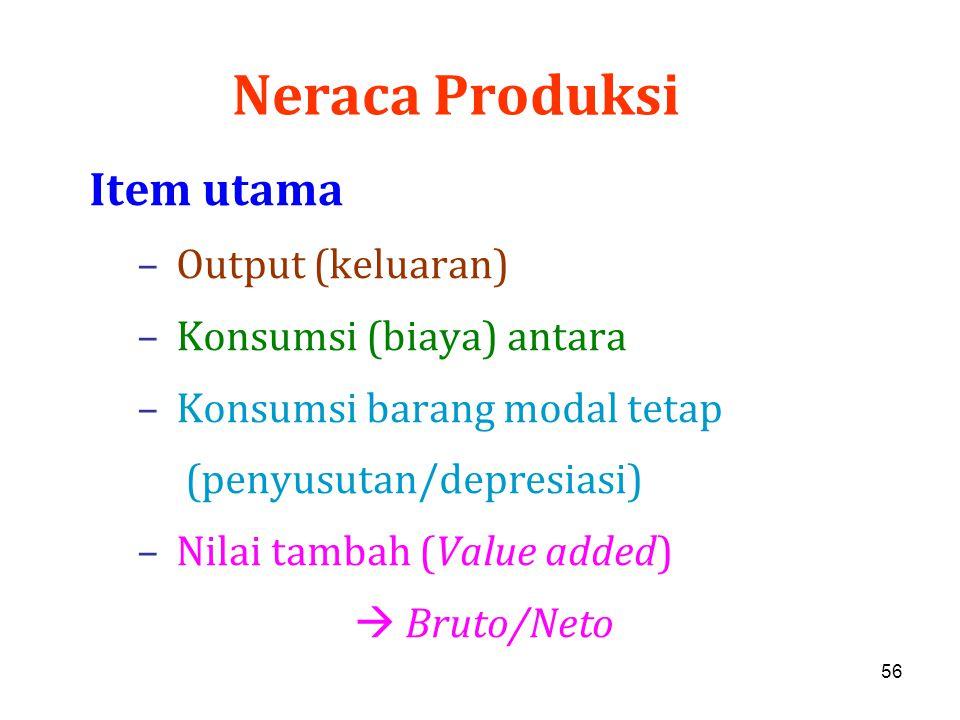 Neraca Produksi Item utama Output (keluaran) Konsumsi (biaya) antara
