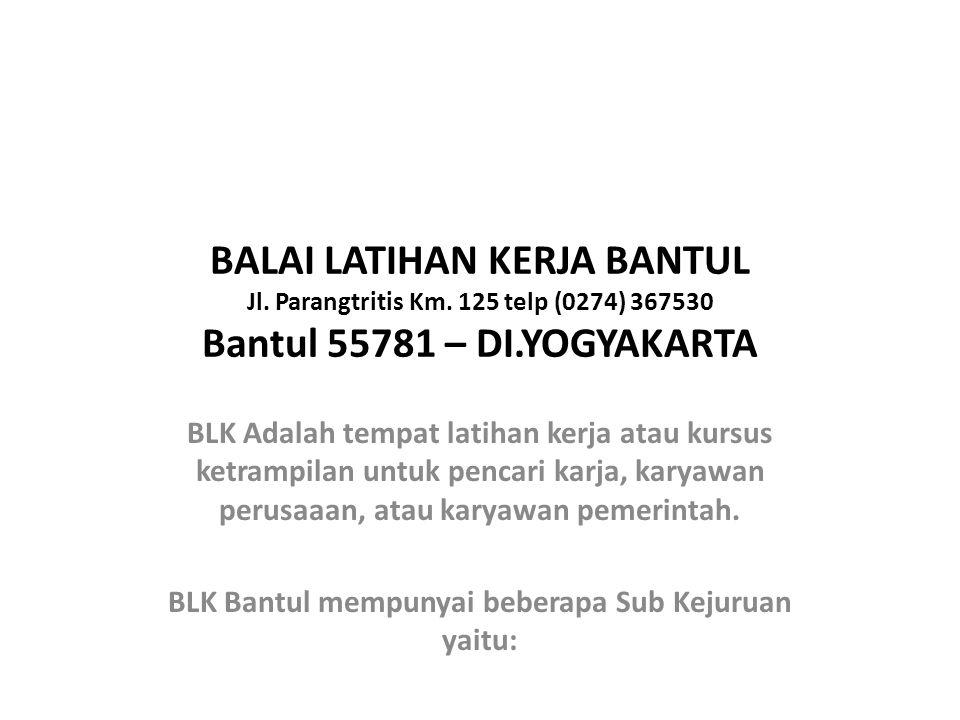 BLK Bantul mempunyai beberapa Sub Kejuruan yaitu: