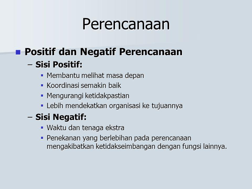 Perencanaan Positif dan Negatif Perencanaan Sisi Positif: