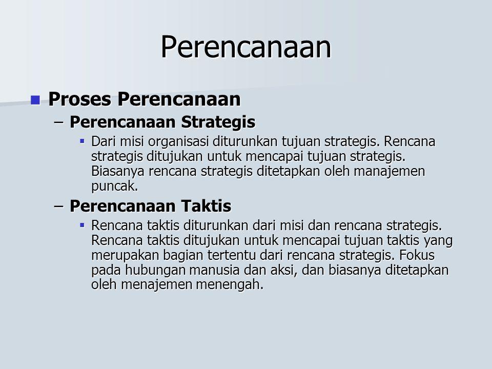 Perencanaan Proses Perencanaan Perencanaan Strategis