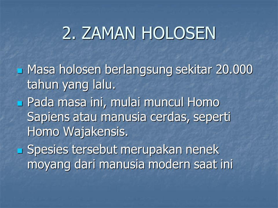 2. ZAMAN HOLOSEN Masa holosen berlangsung sekitar 20.000 tahun yang lalu.