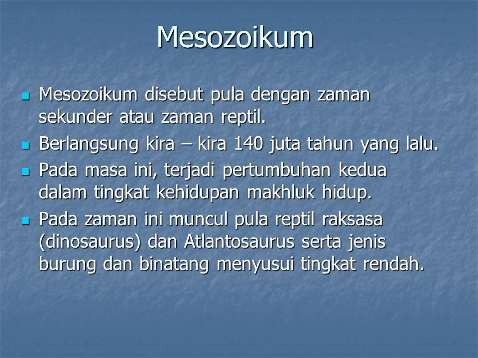 Mesozoikum Mesozoikum disebut pula dengan zaman sekunder atau zaman reptil. Berlangsung kira – kira 140 juta tahun yang lalu.