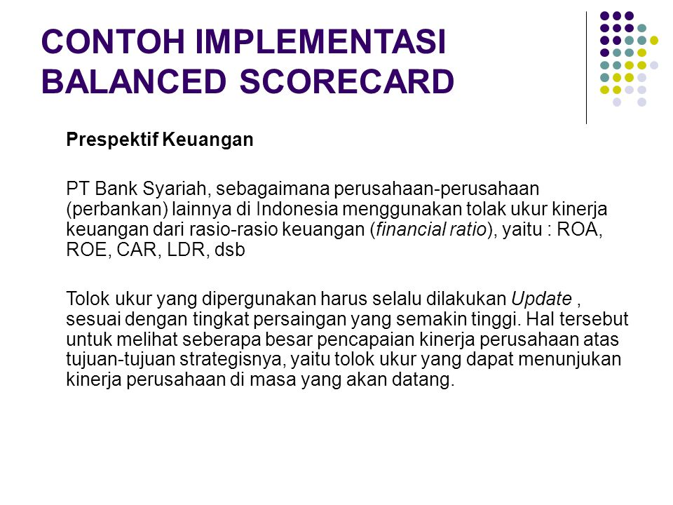 CONTOH IMPLEMENTASI BALANCED SCORECARD