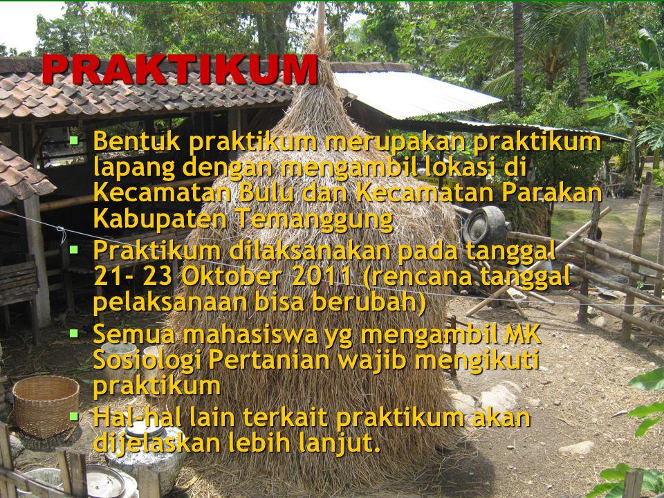 PRAKTIKUM Bentuk praktikum merupakan praktikum lapang dengan mengambil lokasi di Kecamatan Bulu dan Kecamatan Parakan Kabupaten Temanggung.