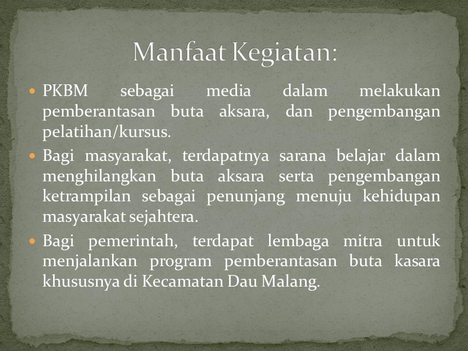 Manfaat Kegiatan: PKBM sebagai media dalam melakukan pemberantasan buta aksara, dan pengembangan pelatihan/kursus.