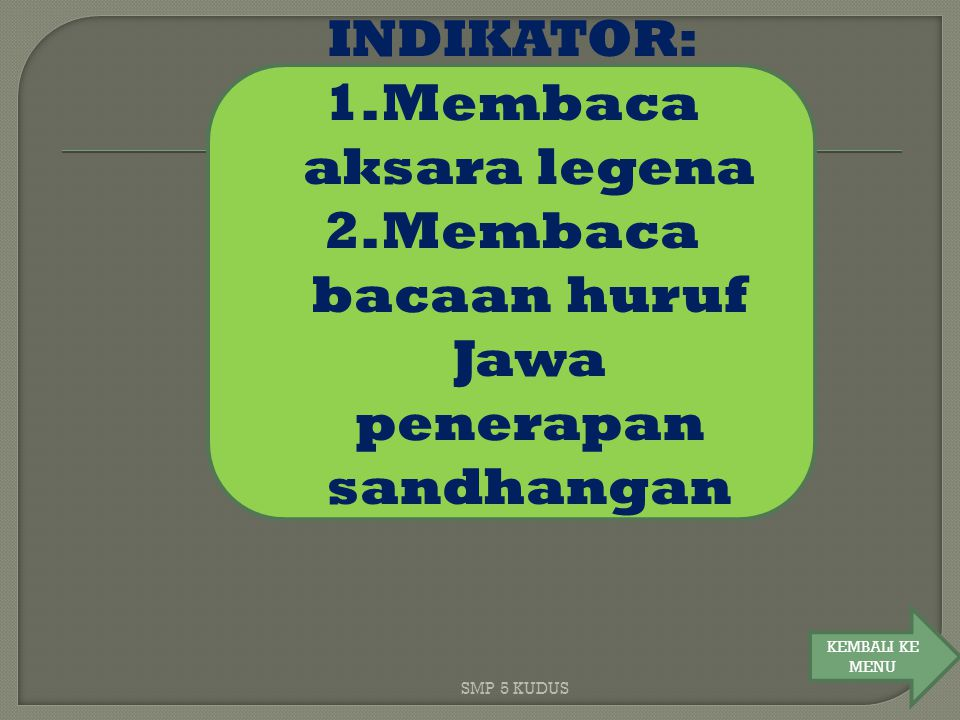 Membaca bacaan huruf Jawa penerapan sandhangan