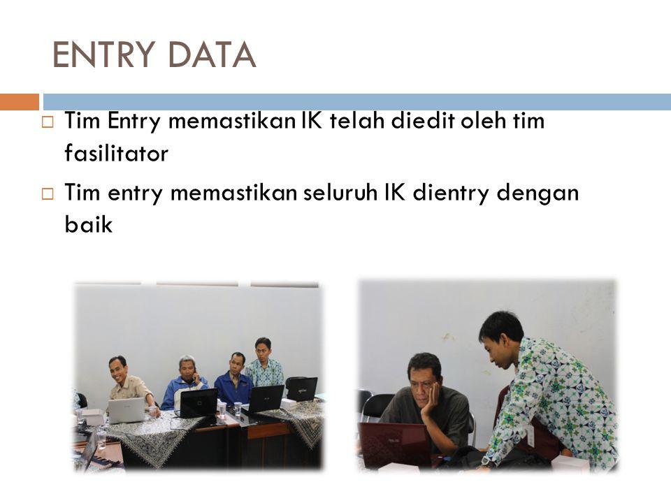 ENTRY DATA Tim Entry memastikan IK telah diedit oleh tim fasilitator