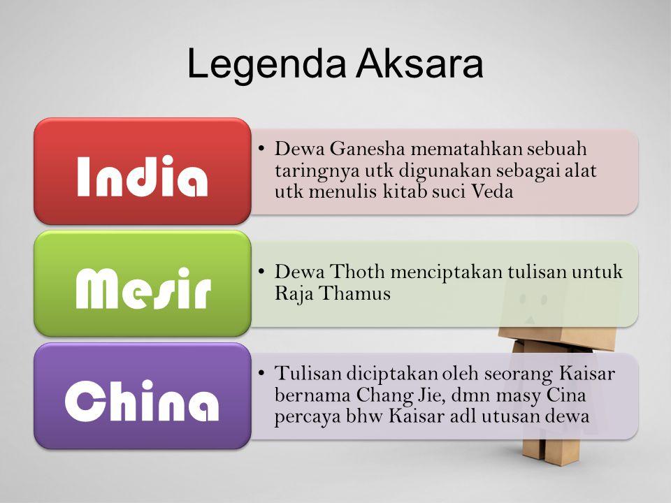 India Mesir China Legenda Aksara
