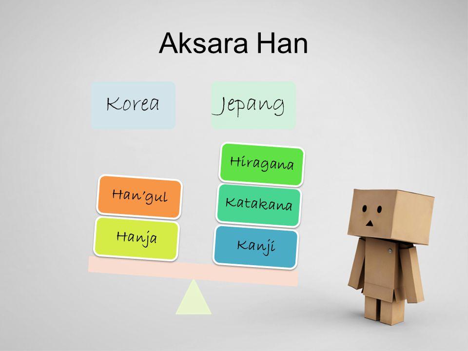 Aksara Han Korea Jepang Kanji Katakana Hiragana Hanja Han'gul