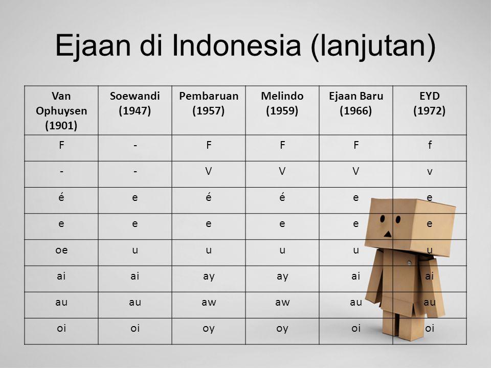 Ejaan di Indonesia (lanjutan)