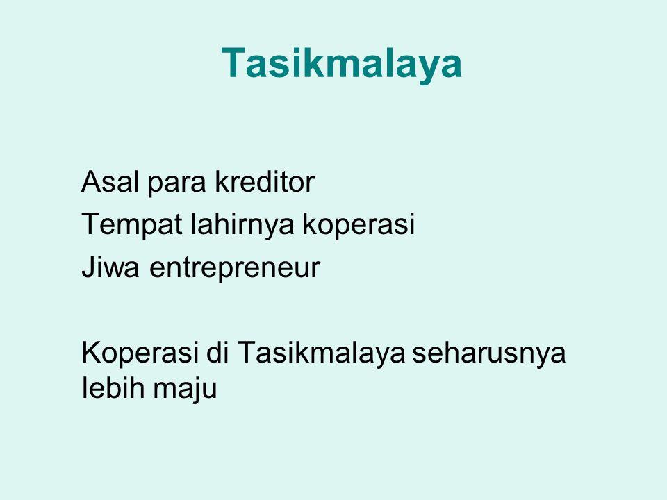 Tasikmalaya Asal para kreditor Tempat lahirnya koperasi Jiwa entrepreneur Koperasi di Tasikmalaya seharusnya lebih maju