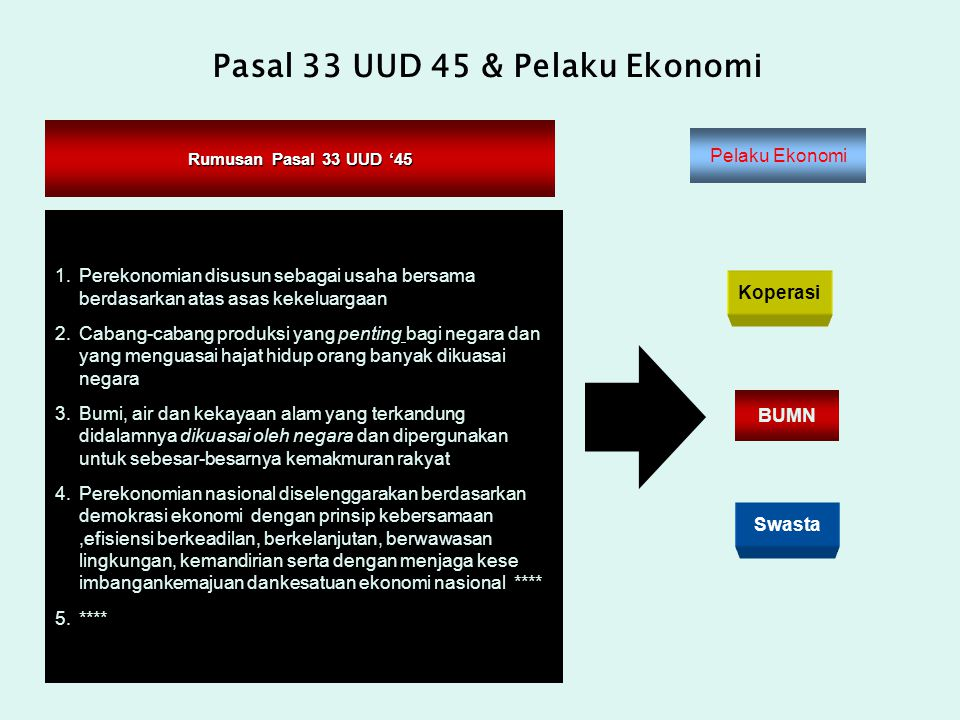 Pasal 33 UUD 45 & Pelaku Ekonomi