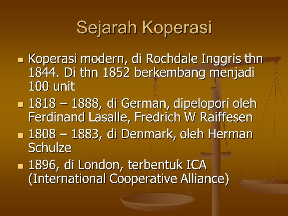 Sejarah Koperasi Koperasi modern, di Rochdale Inggris thn 1844. Di thn 1852 berkembang menjadi 100 unit.