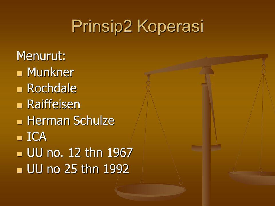 Prinsip2 Koperasi Menurut: Munkner Rochdale Raiffeisen Herman Schulze