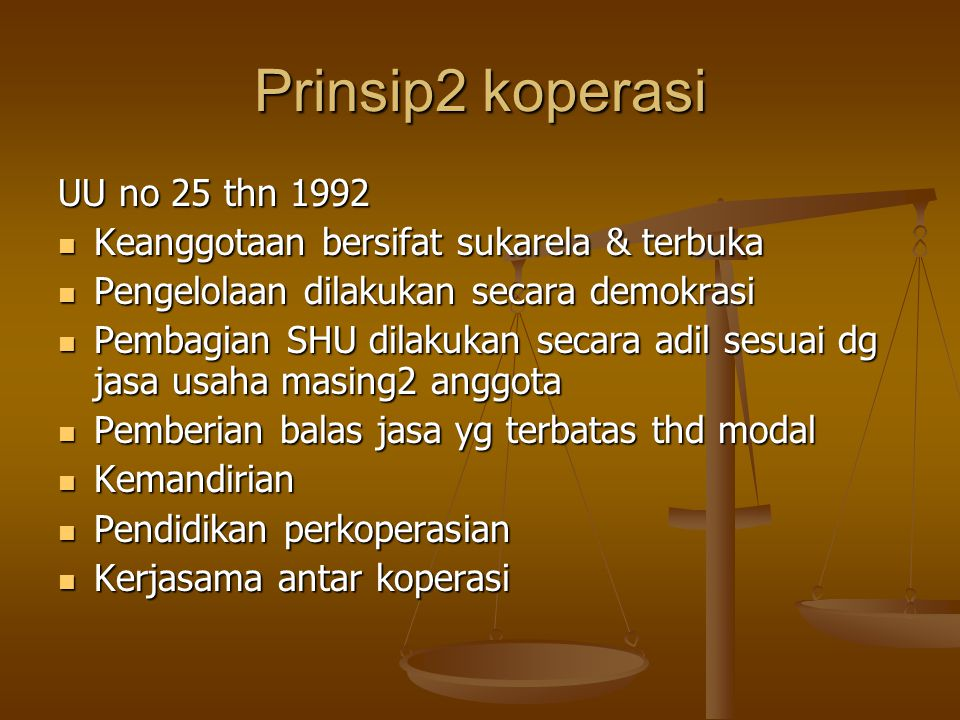 Prinsip2 koperasi UU no 25 thn 1992