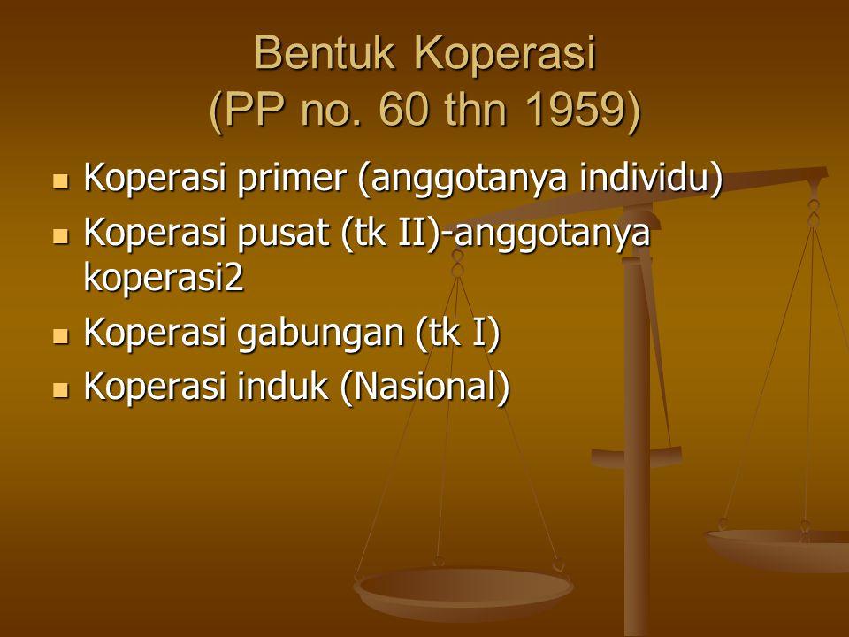 Bentuk Koperasi (PP no. 60 thn 1959)