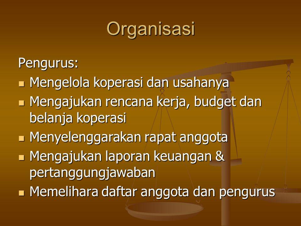 Organisasi Pengurus: Mengelola koperasi dan usahanya