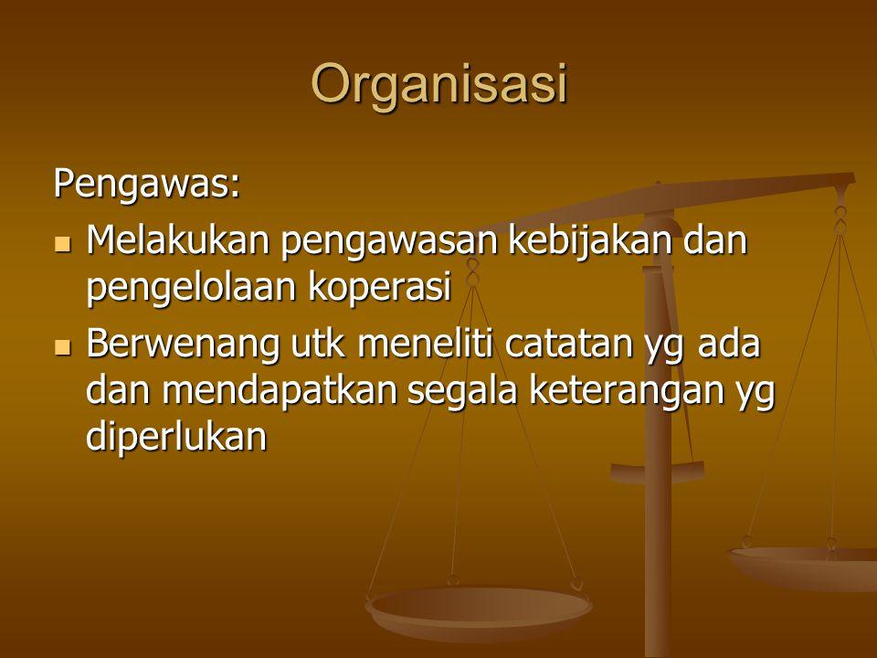 Organisasi Pengawas: Melakukan pengawasan kebijakan dan pengelolaan koperasi.