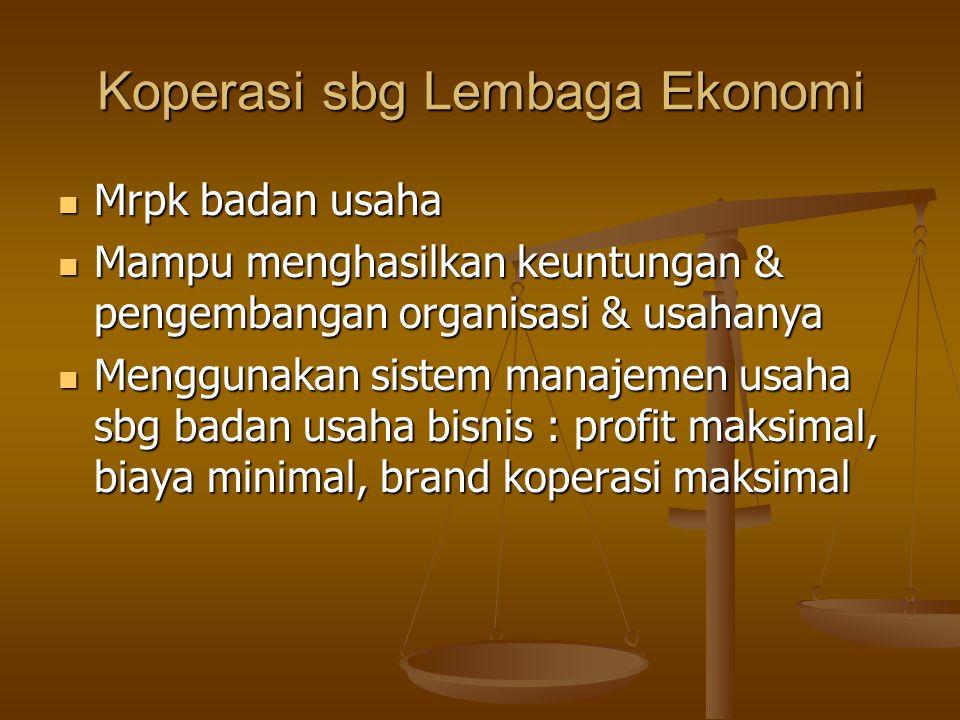Koperasi sbg Lembaga Ekonomi