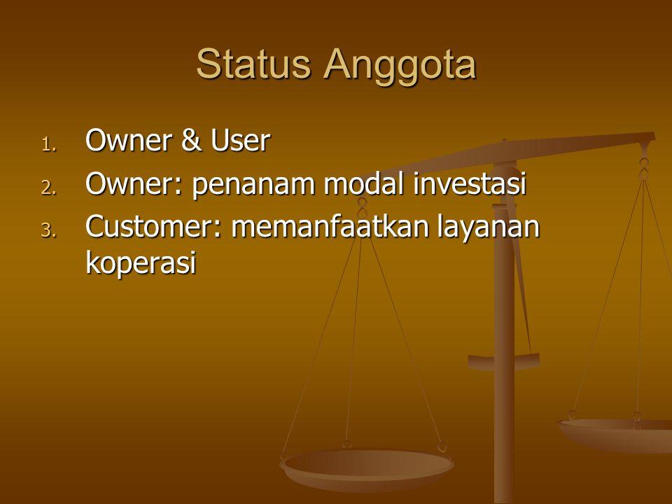 Status Anggota Owner & User Owner: penanam modal investasi