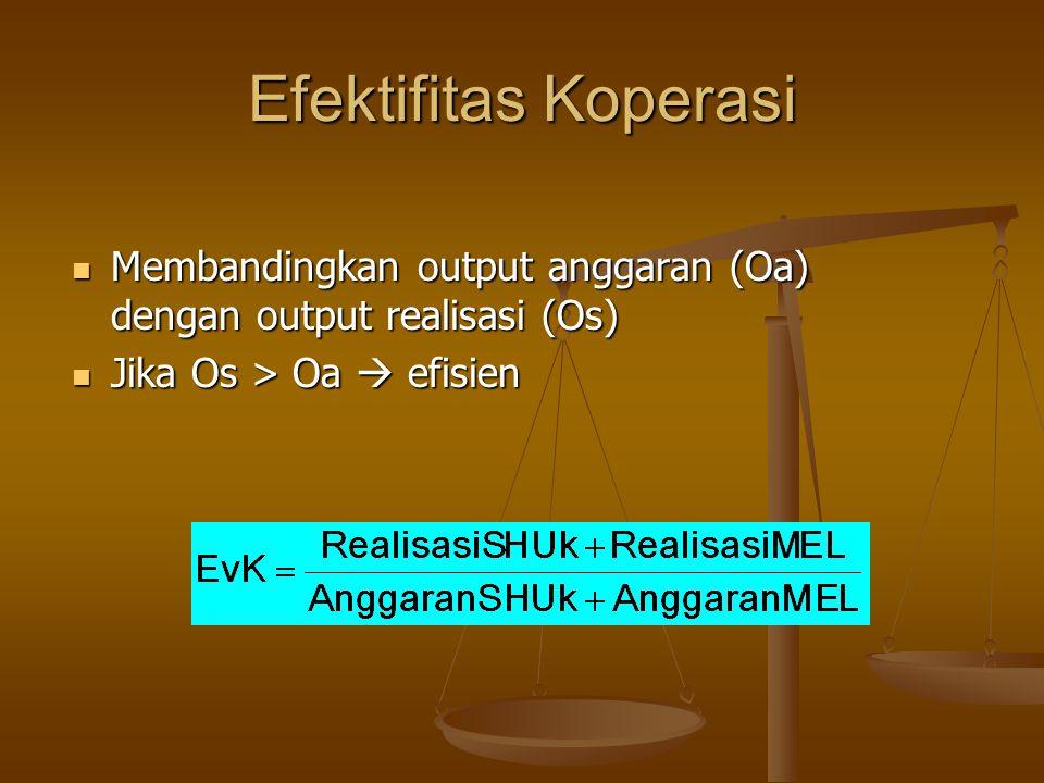 Efektifitas Koperasi Membandingkan output anggaran (Oa) dengan output realisasi (Os) Jika Os > Oa  efisien.