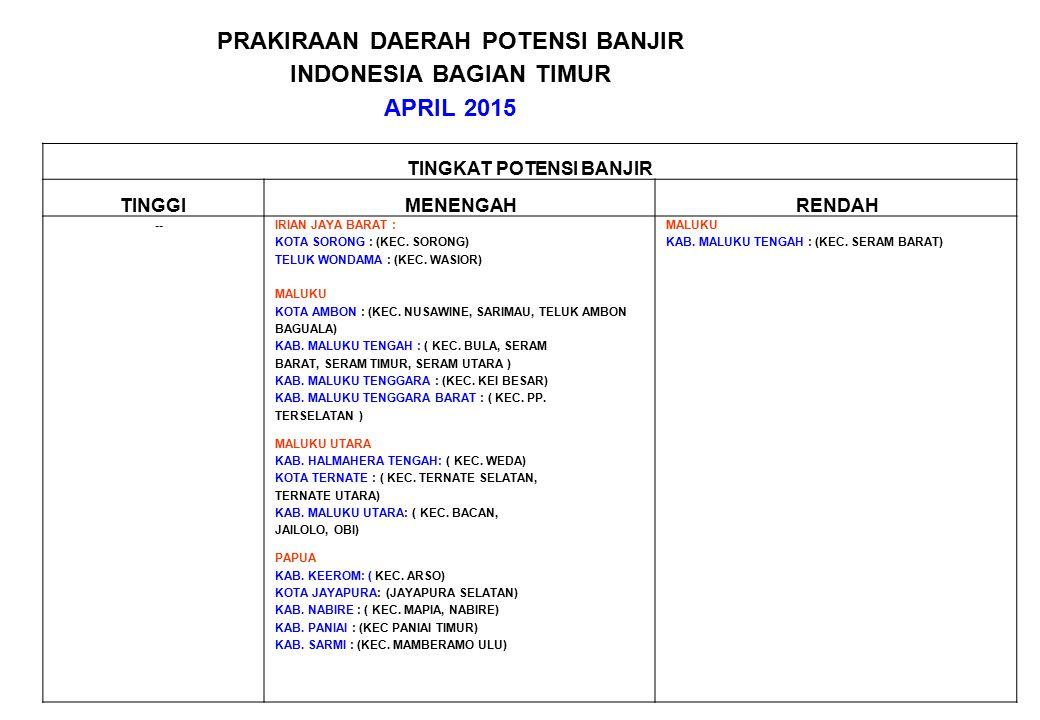PRAKIRAAN DAERAH POTENSI BANJIR INDONESIA BAGIAN TIMUR APRIL 2015