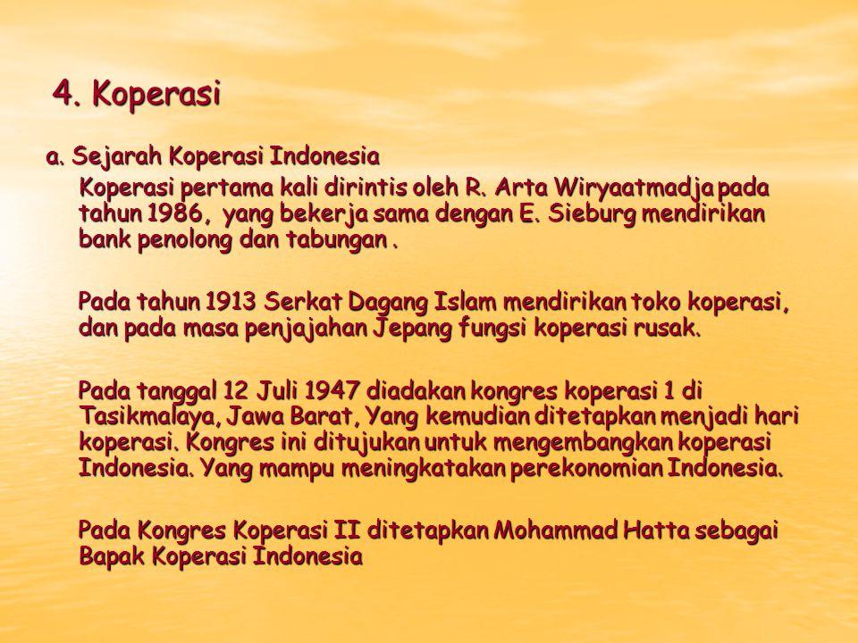 4. Koperasi a. Sejarah Koperasi Indonesia