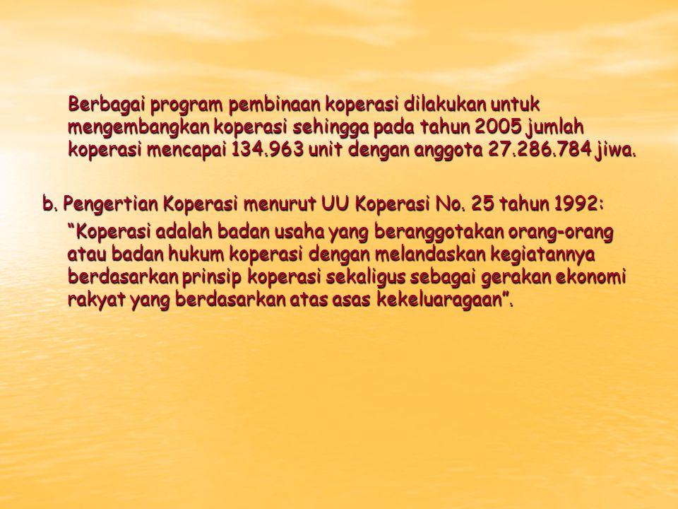 Berbagai program pembinaan koperasi dilakukan untuk mengembangkan koperasi sehingga pada tahun 2005 jumlah koperasi mencapai 134.963 unit dengan anggota 27.286.784 jiwa.