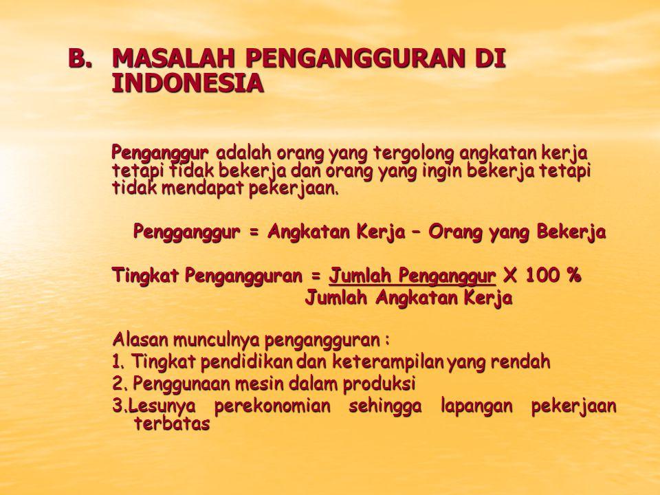 B. MASALAH PENGANGGURAN DI INDONESIA