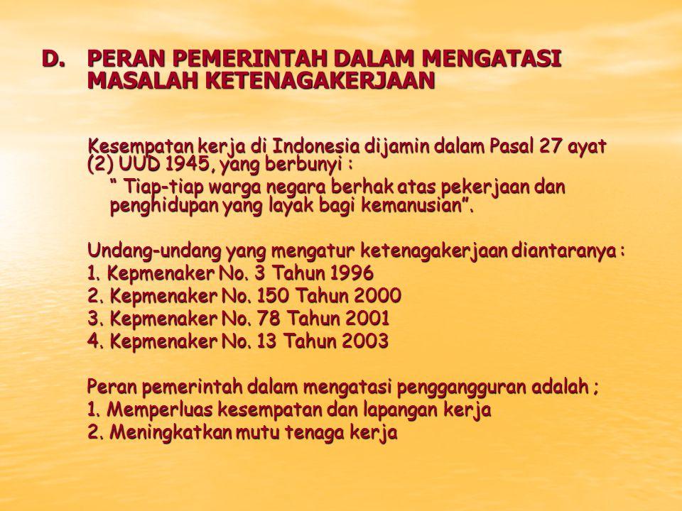 D. PERAN PEMERINTAH DALAM MENGATASI MASALAH KETENAGAKERJAAN