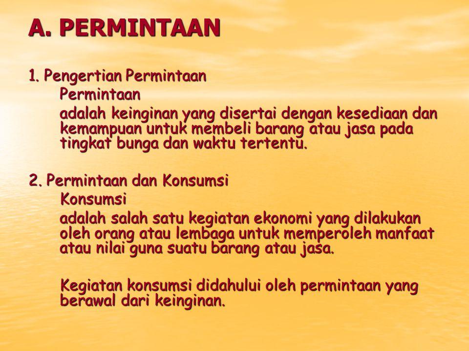 A. PERMINTAAN 1. Pengertian Permintaan Permintaan