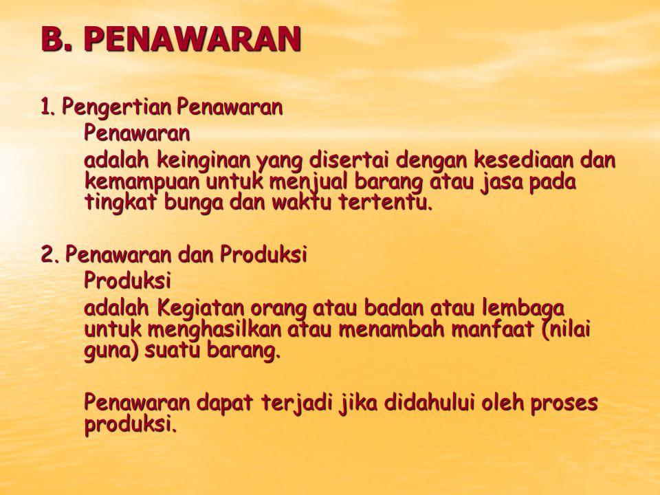 B. PENAWARAN 1. Pengertian Penawaran Penawaran