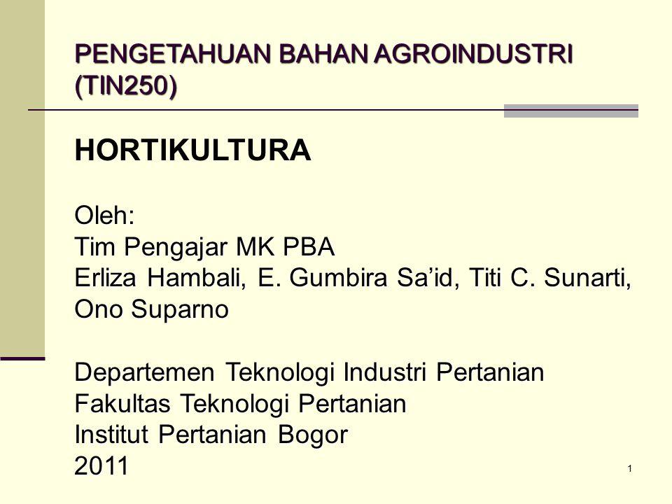 HORTIKULTURA PENGETAHUAN BAHAN AGROINDUSTRI (TIN250) Oleh: