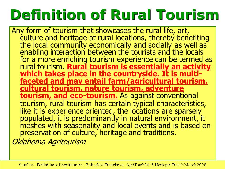 Definition of Rural Tourism