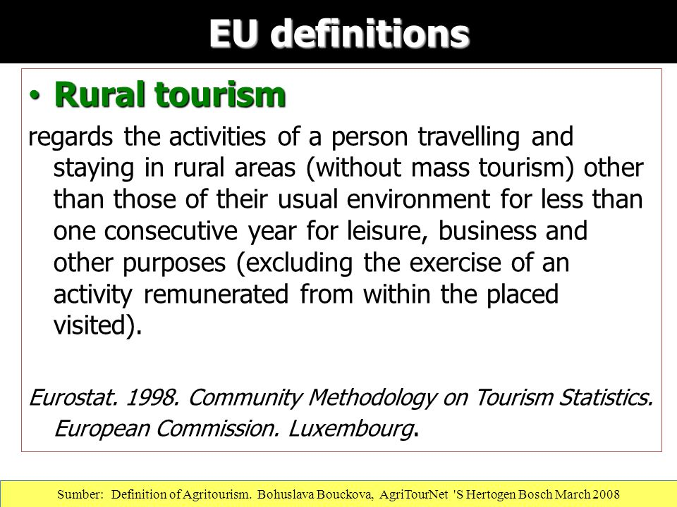 EU definitions Rural tourism